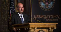 John DeGioia, president of Georgetown University, announces a series of steps to atone for institution's sale of 272 slaves in at the school in Washington. Photograph: Gabriella Demczuk/the New York Times Georgetown College, Georgetown University, Irish American, African American History, American Art, Slavery In The Usa, Catholic Colleges
