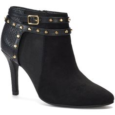 Jennifer Lopez Talc Women's Ankle Boots ($50) ❤ liked on Polyvore featuring shoes, boots, black, black bootie, black ankle boots, short black boots, bootie boots and black ankle bootie