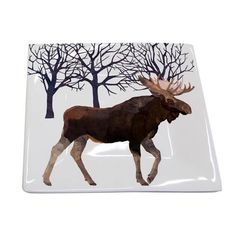 Two Can Art Moose Plate from PPD A % of sales goes to Parents Helping Parents for families affected by autism. Tabletop Accessories, Square Plates, Create Image, Winter Solstice, Fine Porcelain, Art Images, Moose Art, Seasons, Texture