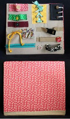 """BBC: I'm going to make a """"quiet book"""" with a lot of these pieces. Sensory Activities, Infant Activities, Activities For Kids, Toddler Play, Baby Play, Quilt Book, Diy Busy Board, Busy Board Baby, Fidget Quilt"""