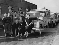 Members of the Trans-Africa team pose for photographs outside the Rover factory in Birmingham. The Landrovers will travel over 25,000 miles, something never before attempted, over the Sahara, through the Belgian Congo (Democratic Republic of the Congo), into the Middle East via the Nile Valley and back through Turkey.