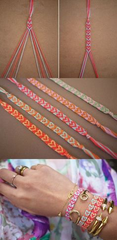DIY Heart Friendship Bracelet Tutorial - could I use a stronger material with this pattern on a halter I wonder....? Making Bracelets