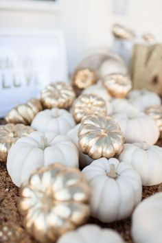 Gold and ivory mini pumpkins. gold and ivory mini pumpkins white pumpkins wedding, pumpkin wedding decorations, fall pumpkin wedding Decoration Table, Reception Decorations, Reception Ideas, Fall Decorations, Halloween Decorations, Autumn Decorating, Decorating Ideas, Mini Pumpkins, Painted Pumpkins