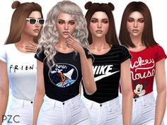Cute T-shirts Collection 02 available in 13 designs. Found in TSR Category 'Sims 4 Female Everyday' Sims 4 Mods, Packs The Sims 4, Pelo Sims, Sims 4 Children, Sims 4 Characters, Sims4 Clothes, Sims 4 Cc Shoes, Sims 4 Dresses, Sims 4 Gameplay