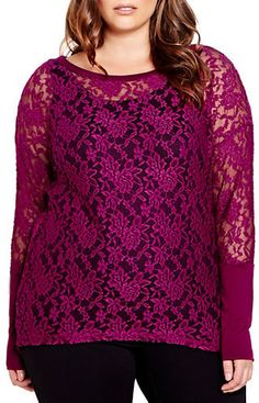 Plus Size Stretch Lace Top
