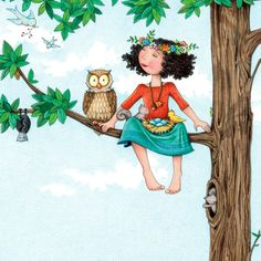 Mary Engelbreit is known for her distinctive illustrations, featured on best-selling calendars, children's books, greeting cards, figurines and more! Never Alone, Mary Engelbreit, Owl Art, Illustrations, Back To Nature, Whimsical Art, Cute Illustration, Childrens Books, Decoupage
