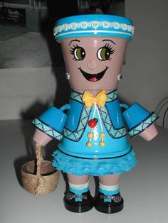 The little lady in blue Creation character in the pot No. 65 775 views) - All About Flower Pot Art, Clay Flower Pots, Flower Pot Crafts, Flower Pot People, Clay Pot People, Clay Pot Projects, Clay Pot Crafts, Painted Clay Pots, Painted Flower Pots