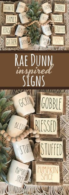 Whether you love Rae Dunn or not you will love these mini signs! They're so cute to place anywhere in your home. They are perfect space filler for any fall/vignette that you make in your home. Rae dunn inspired signs, fall signs, autumn signs, gift, thanksgiving, halloween, farmhouse style, framed -Sponsored