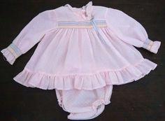Vtg Baby Girl Dress Bloomers 12M Pink Swiss Dot Smocked Long Sleeves Spring #Unbranded #EasterDressyHoliday