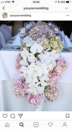 I'd love this at the bride and groom's table. Look at those stunning flowers! #flowers #weddings #tablerunner #modern #beautiful