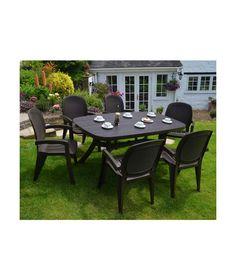Garden Furniture Vouchers buy iowa rattan effect 6 seater patio set - graphite at argos.co