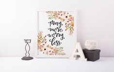 Pray More Worry Less Print » Bible Verse Print » Christian Print » Quote Print » Watercolor Floral Art Print » Home Decor » Digital Print