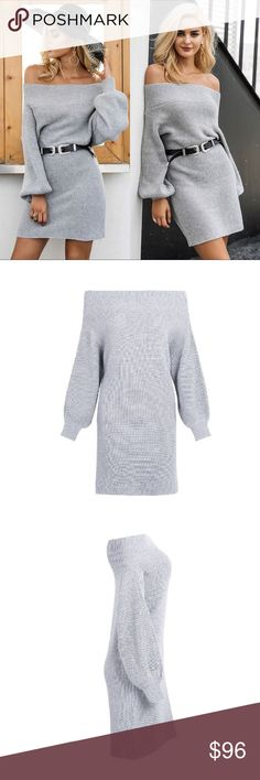 Ribbed Knit Off Shoulder Sweater Dress Grey Chic wide neckline you can wear off shoulder if you want. Cozy ribbed knit texture. This chunky sweater dress will be your favorite go to piece this season. Perfect worn alone or with leggings. Look totally put together, feel like you're cuddling in your favorite blanket. OSFM (Sizes 2-10)  ❌ Sorry, no trades.  608484  loose fit cable waffle knit slouchy oversized ruffle sleeve  fairlygirly fairlygirly Dresses Long Sleeve