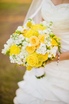 Flower ideas: Yellow Wedding Bouquet - Yellow & Grey Superhero Wedding – Tampa Bay Watch - Angel He Photography Yellow Grey Weddings, Yellow Wedding Flowers, Bridal Flowers, Yellow Roses, White Roses, Bouquet Bride, Flower Bouquet Wedding, Bouquet Flowers, Wedding Flower Arrangements