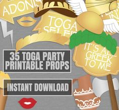 35 Toga Party Props, Toga photo booth printables, gold and white ancient greek party, photobooth toga themed party, instant download by YouGrewPrintables on Etsy