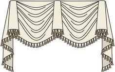 This version of the Kingston valance as longer jabots on the sides for a more dramatic effect.  This style can also be used on their own or over panels