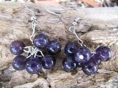 A gorgeous cluster of amethyst beads. The beads are real amethyst, and are a beautiful deep purple. I saw some similar earrings in a shop and loved the design, so I fiddled with the idea and came up with these. Cluster Earrings, Drop Earrings, Jewelry Ideas, Unique Jewelry, Amethyst Cluster, Deep Purple, Beaded Jewelry, Beads, Trending Outfits