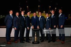 Novak Djokovic of Serbia, Stan Wawrinka of Switzerland, Tomas Berdych of Czech Republic, Marin Cilic of Croatia, Roger Federer of Switzerland, Andy Murray of Great Britain, Kei Nishikori of Japan, Milos Raonic of Canada with Chris Kermode Executive Chairman & President ATP pose for a photo as they travel along the thames during the Barclays ATP World Tour Finals tennis previews at the O2 Arena on November 7, 2014 in London, England.