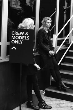 Models smoking before a show.