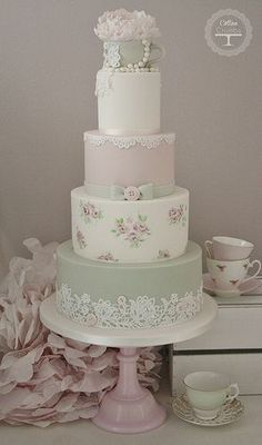 Tea Cup Wedding Cake Tracy James Cotton and Crumbs. I love the painted layer!