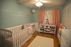 Baby Girl Leah's Pink, White, and Sea Green Nursery - Finally made time to put up the finished product!
