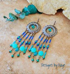 Boho Chandelier Fringe Earrings Long Peacock Beaded by BohoStyleMe