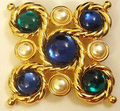 """Vintage Napier Signed Estate Gold Pearl Gem Multi Color 2"""" Brooch Pin RARE!"""
