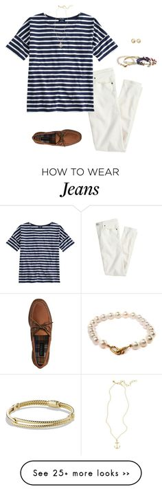 """Last Chance to Wear White Jeans"" by mj-allie on Polyvore featuring J.Crew, Saint James, Sperry Top-Sider, Kate Spade, Brooks Brothers, Pearls Before Swine and David Yurman"