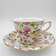 Rosina Floral Chintz Tea Cup Saucer 1063 Bone China England Vintage #Rosina #Scalloped