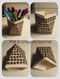 pot à crayons tourné - livre le cartonnagne (Fleurus 2002) Laurence Anquetin