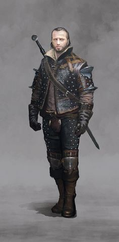 m Ranger Studded Leather Sword traveler latest Male RPG character portrait inspiration Dark Fantasy, Fantasy Male, Fantasy Armor, Medieval Fantasy, Fantasy Fighter, Medieval Armor, Witcher Armor, The Witcher, Dnd Characters