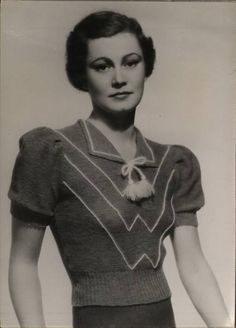 1930s knitwear - I love the knit top! Also, this lady looks like she could be related to Til Schweiger.