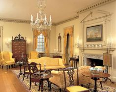 The Port Royal parlor at Winterthur, mostly decorated in a late-Queen Anne or Chippendale style Chippendale side chair Philadelphia high boy Wing chair House, Interior, Georgian Interiors, Historic Homes, Colonial House, House Interior, Interior Design, Great Rooms, Colonial Style
