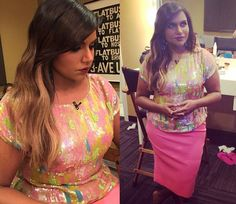 """Mindy Kaling was styled by Salvador Perez for her appearance on Ellen last week and wore this pink skirt from """"Diary of a Mad Indian Woman"""" with a colorful sequined top which according to Mindy's Instagram is from Trina Turk - although it doesn't seem to be available!"""