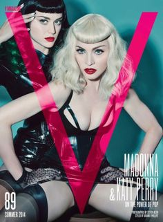 Katy Perry and Madonna star in a bondage-themed photo shoot in the latest issue of V magazine. The pictures see Katy Perry pose as a dominatrix, with one image of her straddling and pulling Madonna's hair, and another tying up the 'Like a Virgin' sta V Magazine, Fashion Magazine Cover, Fashion Cover, Magazine Covers, Magazine Photos, Material Girls, Katy Perry, Louise Brooks, Divas