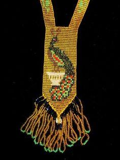 Genuine Art Deco Nouveau Seed Bead Flapper Necklace Peacock | eBay