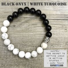 Yoga Bracelets Black Onyx White Turquoise. Energy Healing | Men's Womens | beaded yoga karma mala charm. Law of Attraction. manifest. #LOA.