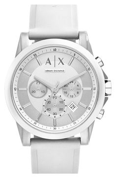 AX Armani Exchange Chronograph Silicone Strap Watch, 44mm available at #Nordstrom
