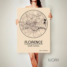 FLORENCE South Carolina CANVAS Map Florence South by ArchTravel