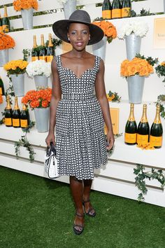 Fabulously Spotted: Lupita Nyong'o Wearing Alexander McQueen - Seventh Annual Veuve Clicquot Polo Classic - http://www.becauseiamfabulous.com/2014/06/lupita-nyongo-wearing-alexander-mcqueen-seventh-annual-veuve-clicquot-polo-classic/