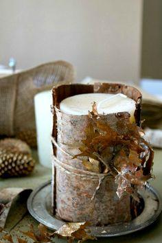 Thanksgiving Birch Bark Candle DIY | Tablescape