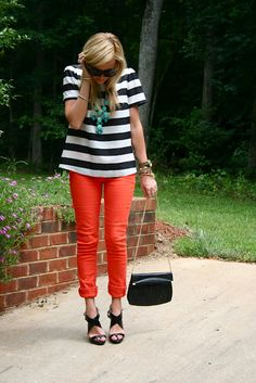 Stripes and colored pants.
