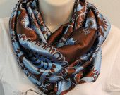 brown with blue print color infinity scarf cowl woman/girl multicolored scarf