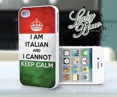 iPhone 4 4s Hard Case - Italian Flag Keep Calm - Phone Cover...omg to funny but true.