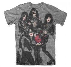 KISS-Rocket-to-Ride-gray-t-shirt-Hard-Rock-Heavy-Metal-classic-rock-tee