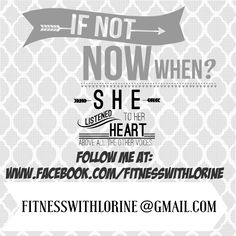 Email me and I'll help you find the right meal plan & fitness program for you!  Fitnesswithlorine@gmail.com