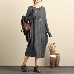 Loose Long Sleeve Knitted Round Neck Dark Gray Knitted Sweater Dress