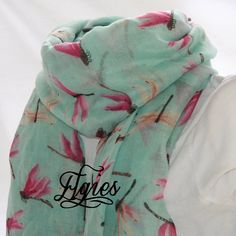 Dragonflies on Light Teal Novelty Fashion Spring Scarf by elgies