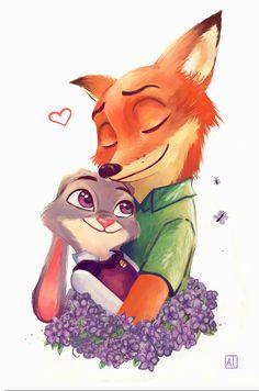 Nick and Judy Fanart by enairya, Digital Painting, Zootopia Fan Art, Fox and Bunny, Inspirational Art