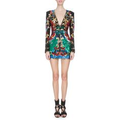 Balmain Embellished Baroque-Print Mini Dress ($5,990) ❤ liked on Polyvore featuring dresses, multi colors, plunging v neck dress, long sleeve dress, short dresses, long sleeve mini dress and long sleeve cocktail dresses